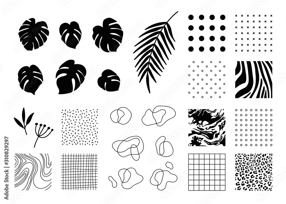 Fototapeta Design elements collection for banner, flyer, poster, invitation, magazine, etc. Set of Animal, geometric, abstract print patterns and backgrounds, tropical leaves, outline shapes.
