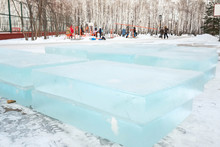 Ice Cut Into Blocks. Ice Brick...