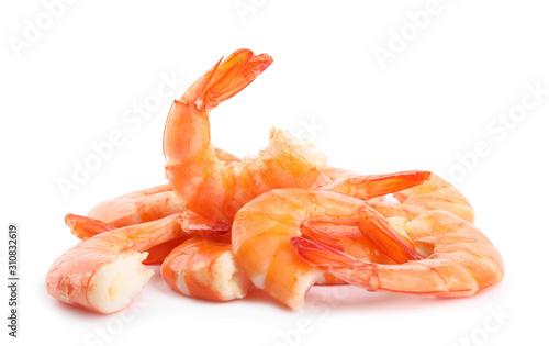 Fototapeta Delicious freshly cooked shrimps isolated on white obraz