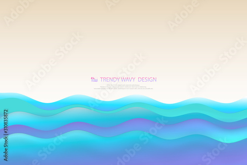 Fotografie, Obraz Abstract nature coast sea wavy layers of blue level of sea background