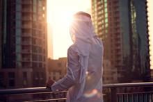 Arabic Man Looking To The Sunrise, Sunset Dubai