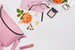 canvas print picture - Creative flat lay with feminine accessories