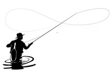Fly Fisherman Fishing.clip Art...
