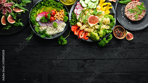 Fototapeta Buddha bowl. Dishes menu. Free copy space. Top view. obraz