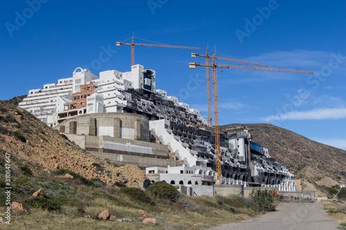 Hotel el Algarrobico, illegal construction on the coast of Carboneras, Almeria, Andalucia, Spain
