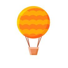An Orange Hot Air Balloon Clipart, White Background