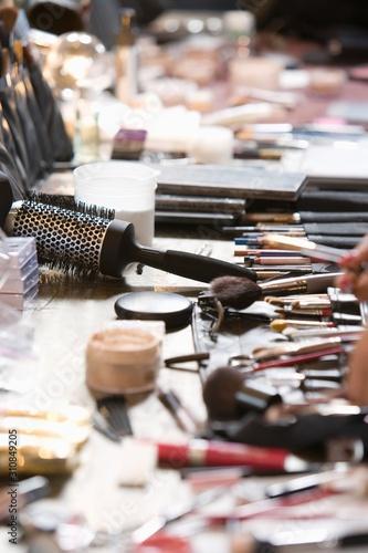 Obraz na plátně Cosmetics range on dressing table