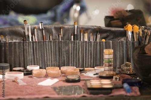 Fotografie, Obraz Professional cosmetics brushes on dressing table