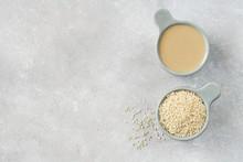 Ceramic Bowl With Tahini And White Sesame Seeds