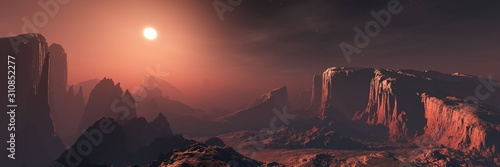 Fototapeta Panorama of an alien landscape at sunset, the surface of Mars in the sun, 3D rendering. obraz