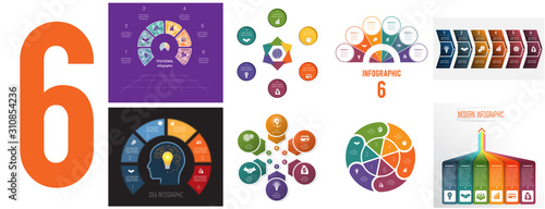 Obraz Set 8 universal templates for Infographics conceptual cyclic processes for 6 positions possible to use for workflow, banner, diagram, web design, timeline, area chart,number options - fototapety do salonu
