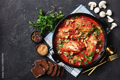 close-up of Chicken Cacciatore in a dish Canvas Print