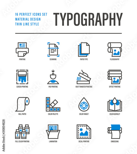 Fototapeta Typography, polygraphy thin line icons set