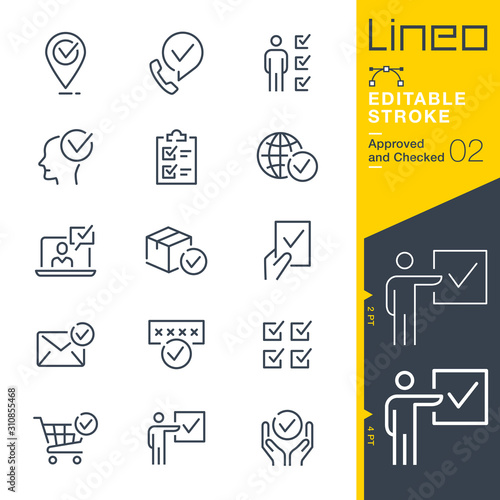 Lineo Editable Stroke - Approved and Checked outline icons Canvas Print
