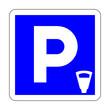 Leinwanddruck Bild - Toll parking area road sign