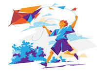 Happy Boy Running With Kite - Vector Illustration