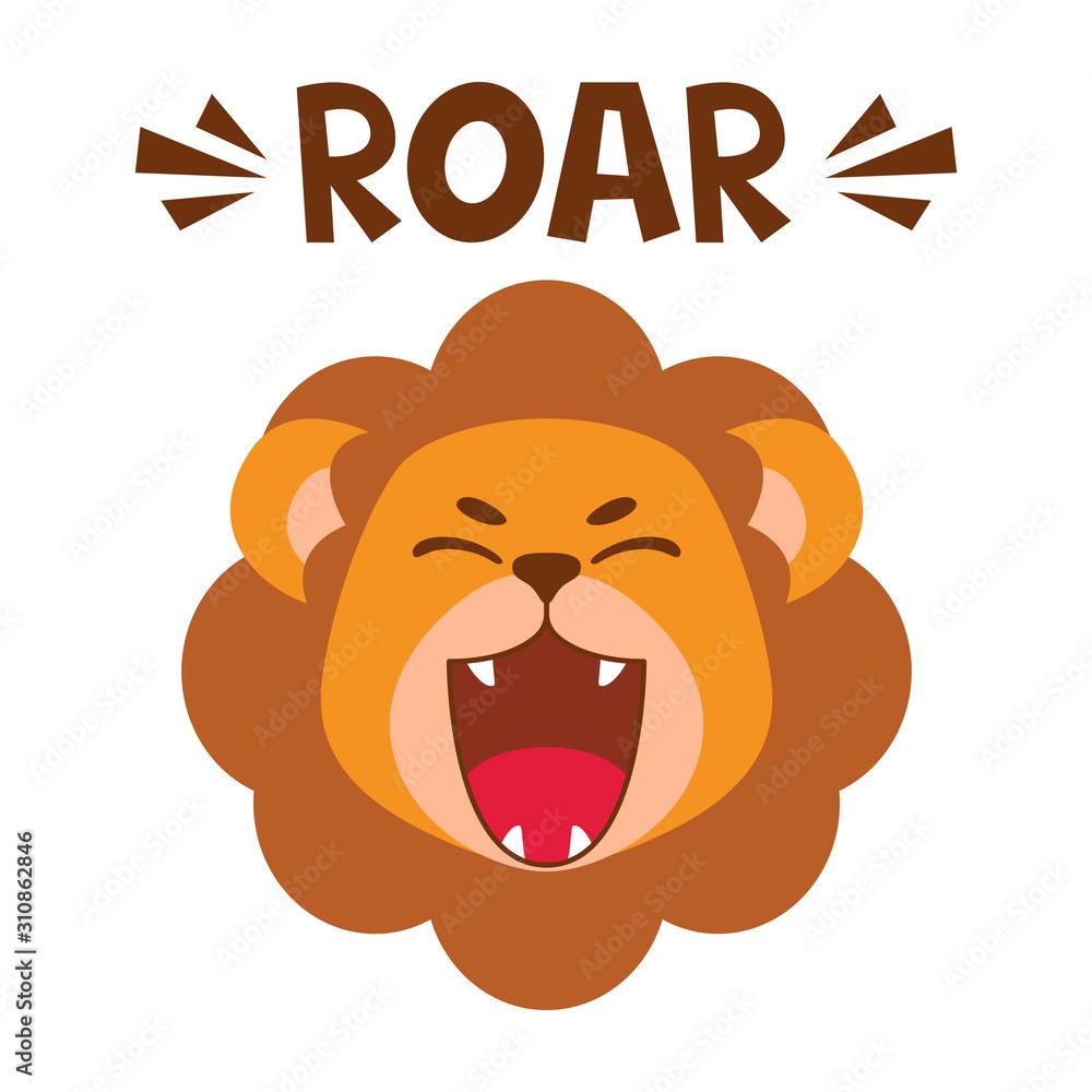 Fototapeta Flat cute lion open mouth roar. Trendy Scandinavian style. Cartoon animal character vector illustration isolated on background. Print for kids apparel, nursery decoration, poster, funny avatars.