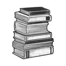 Stack Of Books Sketch Engravin...