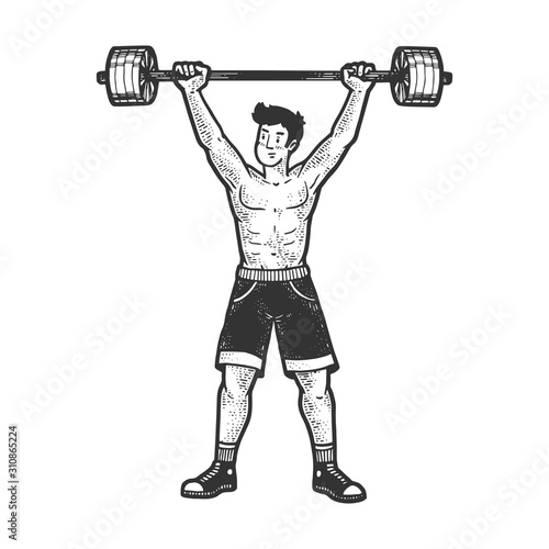 Canvas Print Athlete weightlifting barbell sketch engraving vector illustration