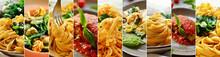 Collage Of Italian Food. Appetizing Aromatic Pasta, Spaghetti, Pasta, Noodles. Pasta Collage.