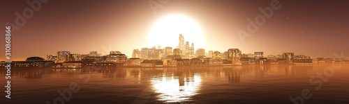 Panorama of the evening city against the backdrop of the huge sun above the water, 3D rendering Fotobehang