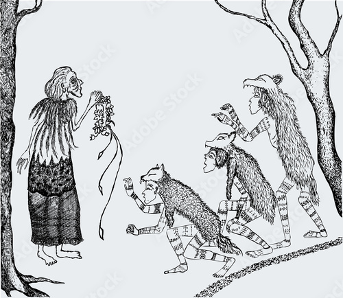 Fotografie, Obraz Vector drawing of old witch and werewolves meeting in forest