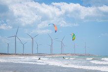 Kite Surfing In The Sea With W...