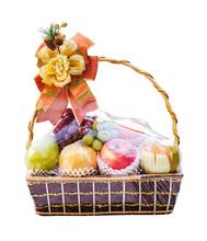 New Year Fruit Basket Isolated On White Background
