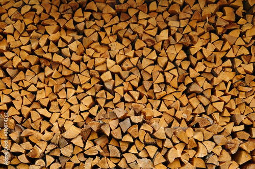 Pile of wood cut for fireplace #310874262
