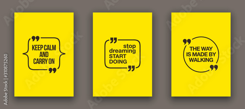 Fototapeta Quote speech bubble blank templates set. Text in brackets on flat paper, citation frames, quote bubbles. Textbox isolated on color background. Modern typography flat design cloud. Vector illustration. obraz