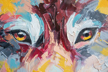 Oil Wolf Portrait Painting In ...