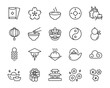 set of chinese icons, chinese new year, asia, chinese firework