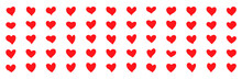 Red Hearts Hand-drawn. Large Set Of 60 Hearts Of Different Shapes. Heart Icon Collection. Icons Of Hearts In A Flat Style. Vector Graphics On A White Style.