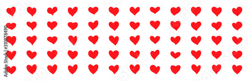 Fotomural  Red hearts Hand-drawn