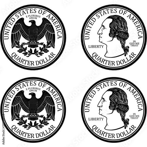 Fototapeta Ready minted high quality Quarter Dollar Coin vector obraz