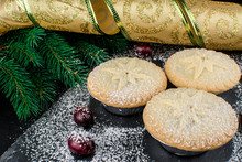 Traditional British  Mince Pie With Red Crunberry