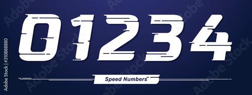 Obraz na płótnie Numbers Speed style in a set 01234