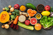 Liver detox diet food concept, fruits, vegetables, nuts, olive oil, garlic. Cleansing the body, healthy eating. Top view, flat lay.