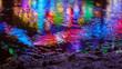 canvas print picture - Reflexion im Wasser mit bunten Farben und Lichtern
