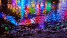 Reflexion Im Wasser Mit Bunten Farben Und Lichtern