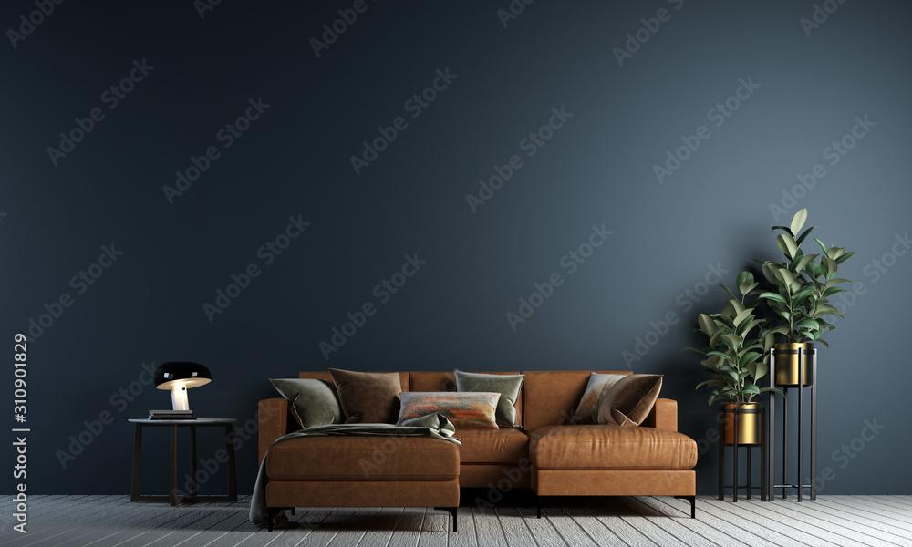Fototapeta Modern living room interior design and concrete texture wall background