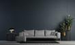 Leinwanddruck Bild Modern blue living room interior desigm adn concrte texture wall background