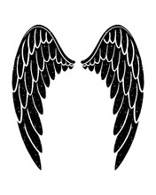 Hand Drawn Bird Or Angel Grunge Textured Flapping Wings. Hand Drawn Wings Silhouette For T-shirt Prints, Tatoo Design, Vintage Styled Poster.