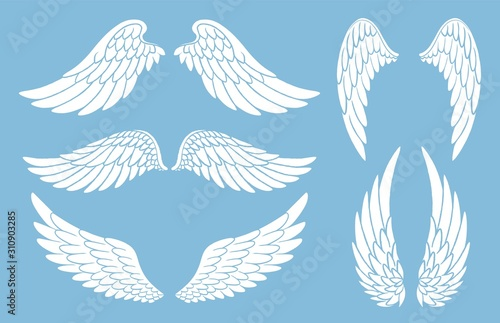 Set of hand drawn bird or angel wings of different shape in open position Fototapete