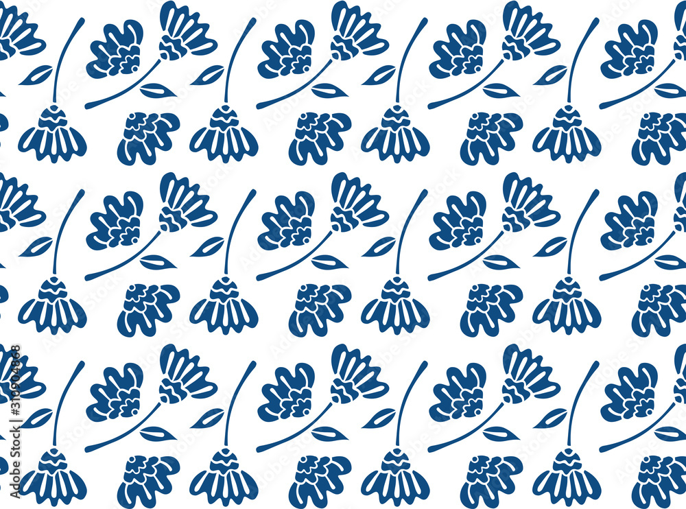Seamless pattern of ethnic abstract flowers in the Scandinavian style of classic blue color. Texture for textile, fabric, wallpaper. White background. Vector.