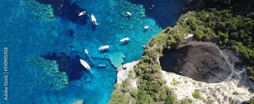 Aerial drone ultra wide photo of breathtaking turquoise exotic bay of blue lagoo Fototapeta