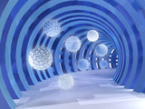Fototapeta Perspektywa 3d - Blue tunnel with flying balls 3d rendering