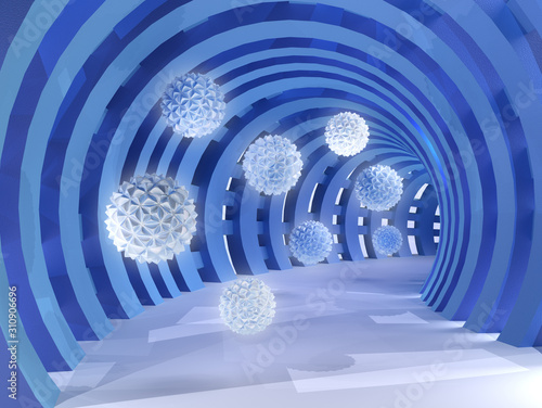 Blue tunnel with flying balls 3d rendering