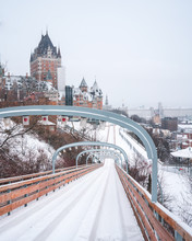 Toboggan Slide In Old Town Of Quebec Canada. Can See The Chateau Frontenac In Background