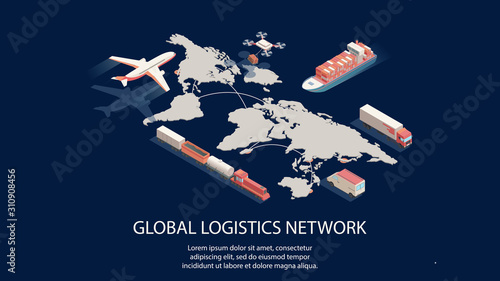 Isometric global logistics network concept Fototapeta